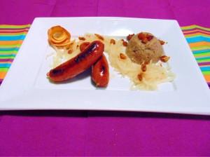 The national dish of Slovenia - Ajdovi Žganci Pečenica