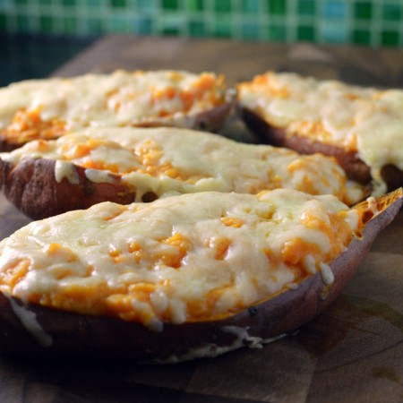 loaded sweet potato boats skins