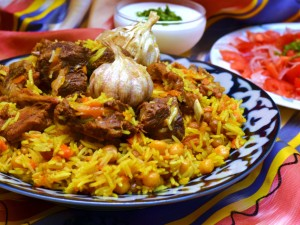 the national dish of Uzbekistan - tuy palovi or plov