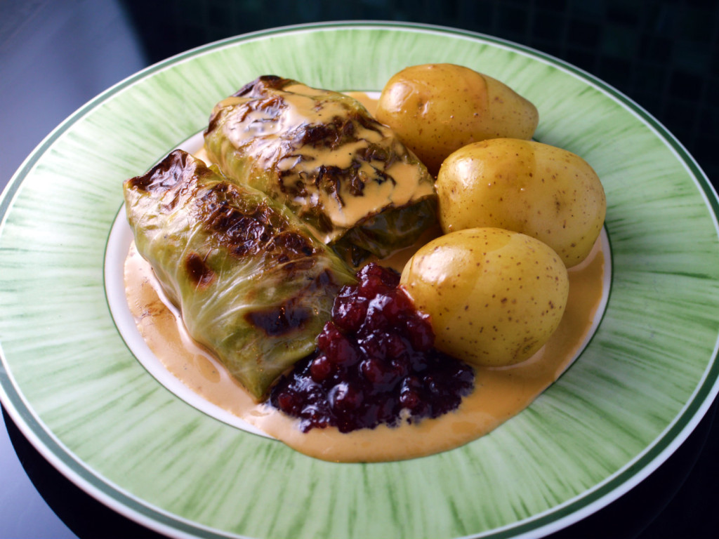 Swedish cabbage rolls with cream sauce and lingonberry jam