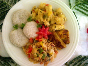 the national dish of Saint Kitts and Nevis - Stewed saltfish with spicy plantains and coconut dumplings