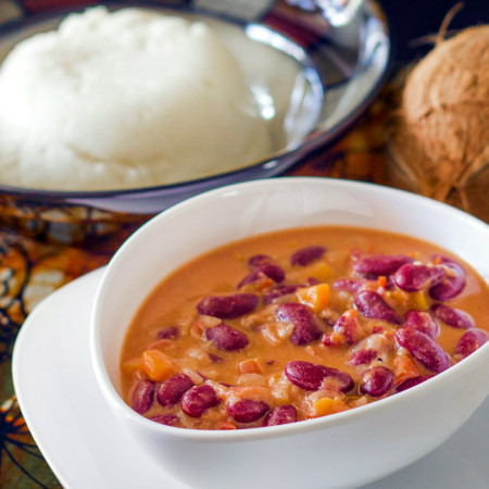 The national dish of Tanzania - Ugali na Maharage ya nazi