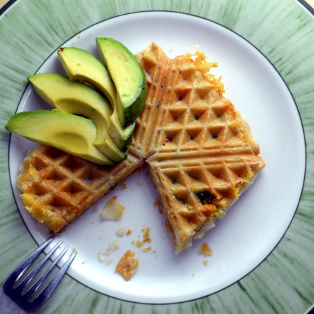 Puff pastry waffle with avocado bacon and cheese