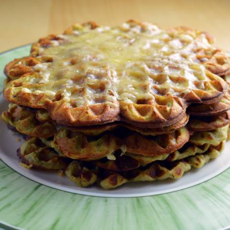 mashed potato and avocado waffle