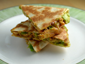 Avocaddo quesadillas with bbq shredded chicken