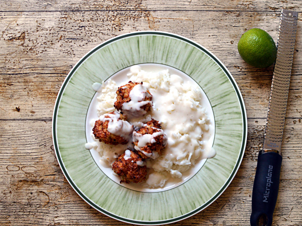 Chicken meatballs with coconut and lime sauce