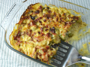 oven baked brussels sprouts gratin with bacon and cranberries