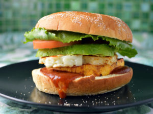 Sweet potato and halloumi vego burger