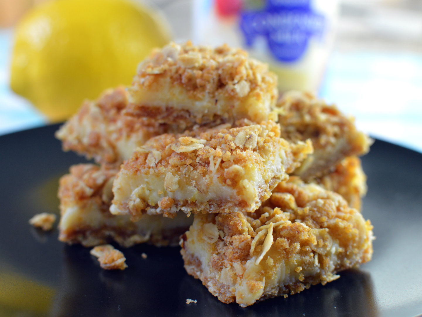 Easy lemon crumb bars with condensed milk