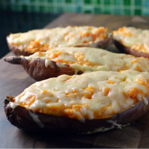 Loaded sweet potato boats / skins