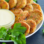 The veg life - Veggie Nuggets with vegan honey mustard dipping sauce