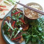 Veggie runners - grilled aubergines with miso and chia seed glaze