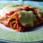 Canneloni with zucchini ham and cream cheese