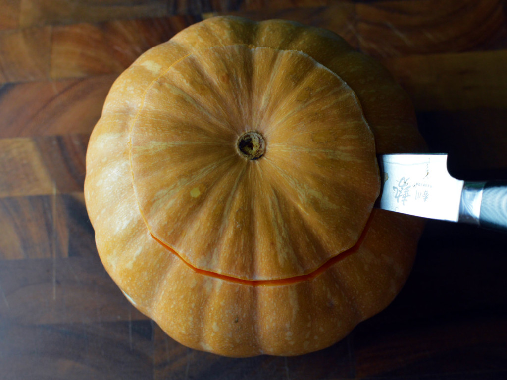 how to carve a pumpkin for halloween - Cut the lid