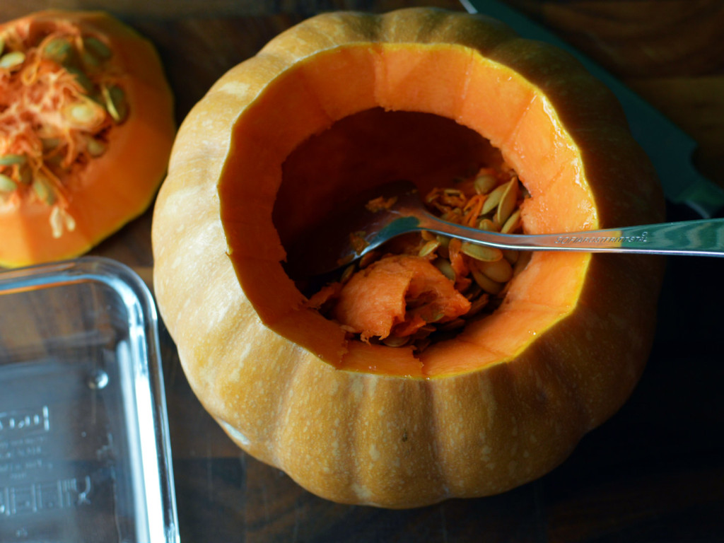 how to carve a pumpkin for halloween - Scoop out the inside