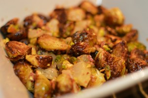 Brussels sprouts with pears and pistachios