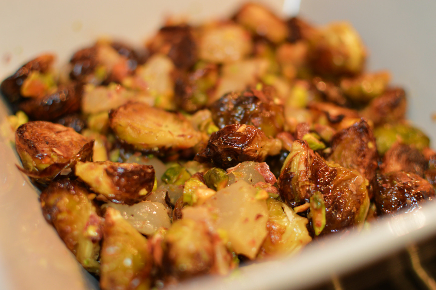 Recipe: Roasted brussels sprouts with pears and pistachios ...