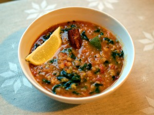Recipe: Red lentil soup with spinach