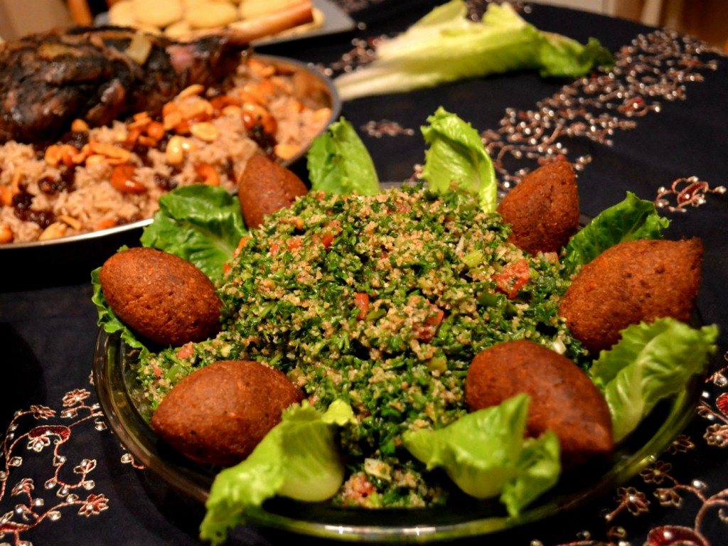 The national dish of Syria - Kibbe with Tabouleh