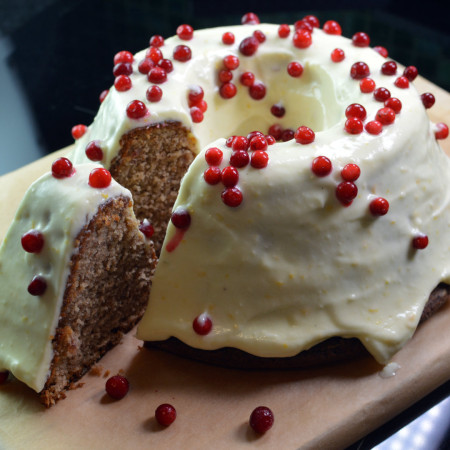 soft gingerbread cake with orange cream cheese frosting