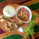 The national dish of Kenya - Ugali nyama choma na kachumbari