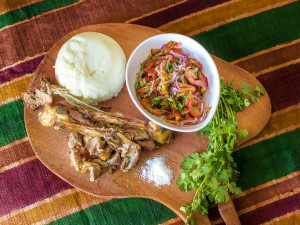 The national dish of Kenya - Ugali nyama choma na kachumbari