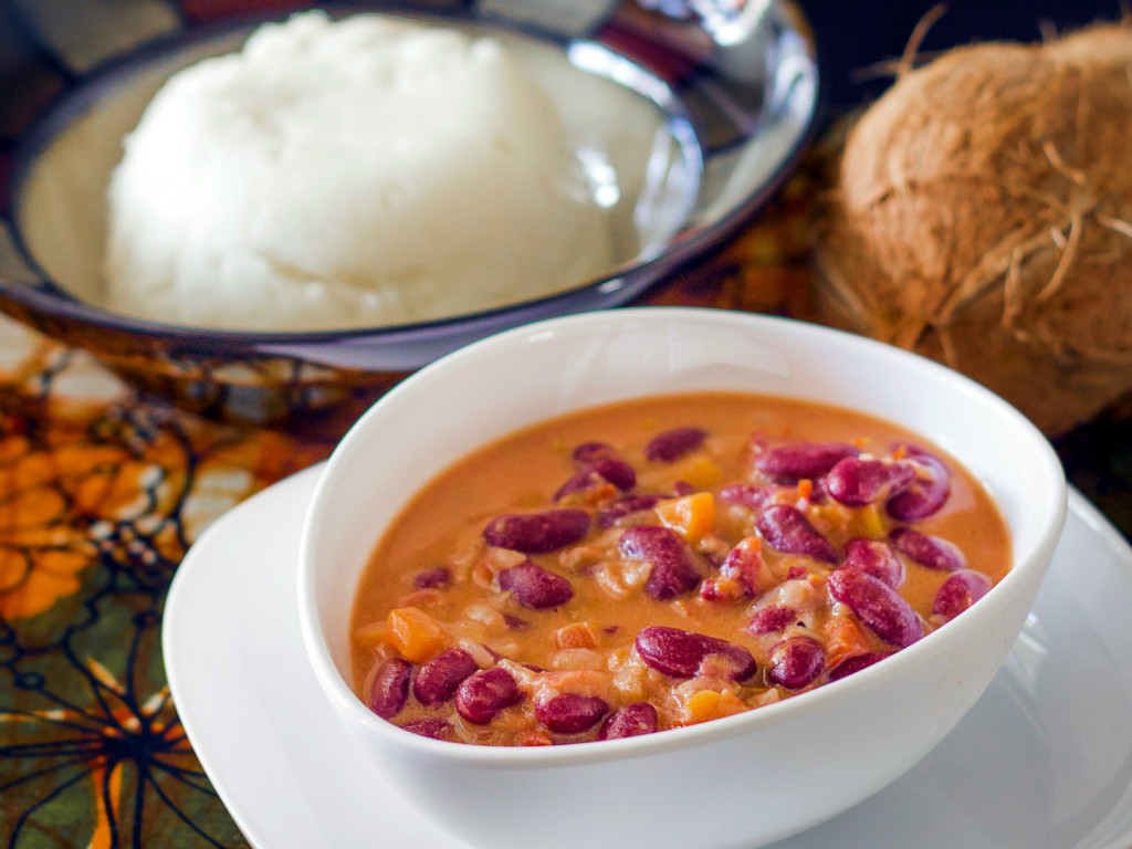 The national dish of Tanzania - Ugali na Maharage ya nazi