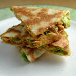 Avocaddo quesadillas with bbq shredded chicken