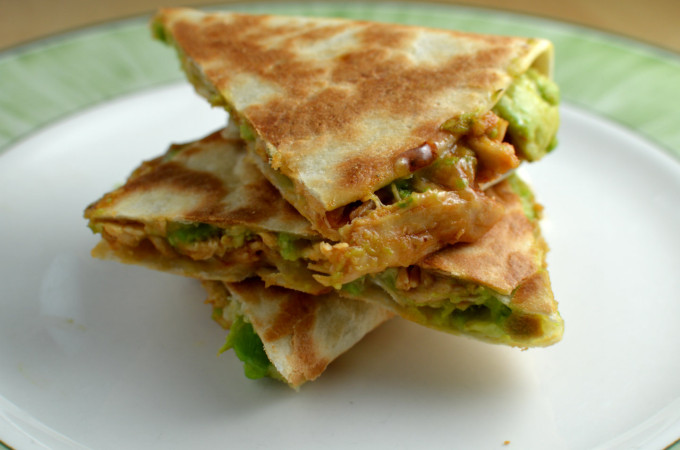 Recipe: Avocado quesadillas with bbq shredded chicken