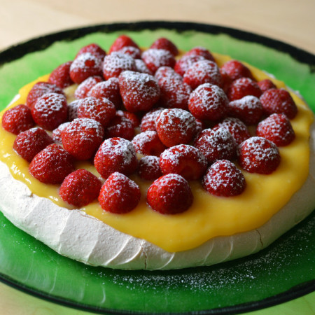 midsummer pavlova with lemon curd and strawberries