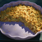 Rhubarb crisp with coconut and almond paste
