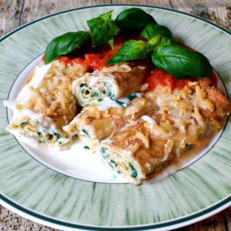 Florentinska crêpes - pannkakor fyllda med spenat och ricotta