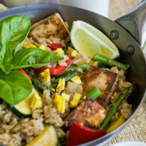Oil free Vegetable Fried Rice with tofu