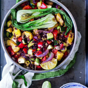 Pineapple black rice stir-fry