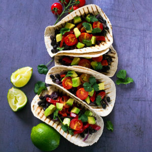 Black bean avocado tacos