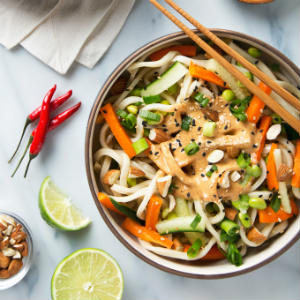 Vegan Almond Butter Udon Noodles