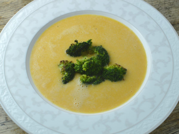 Smoky sweet potato cheese soup with broccoli
