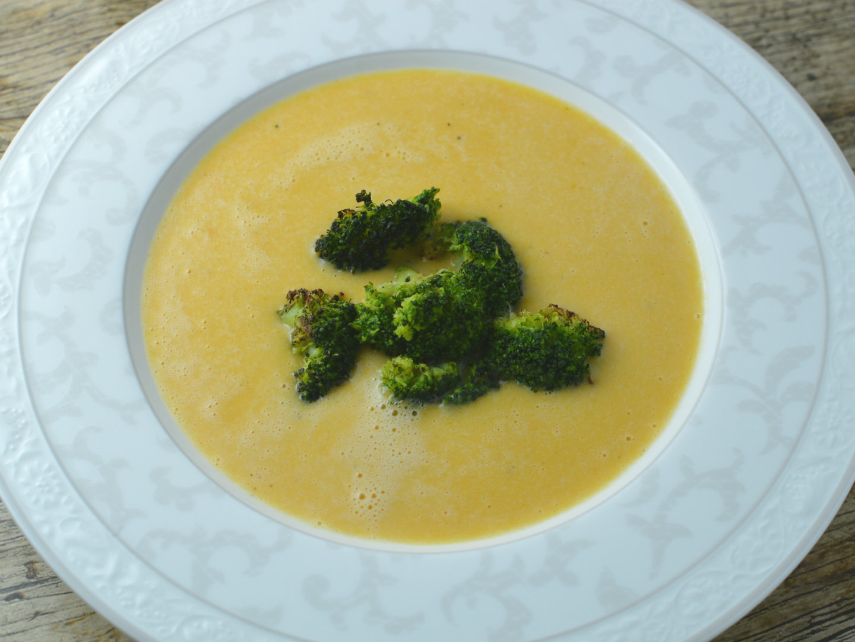 Smoky sweet potato cheese soup with broccoli