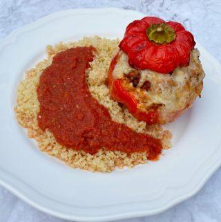 Fylld paprika med köttfärssås ris och fetaost