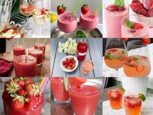 Lista med olika drycker med jordgubb