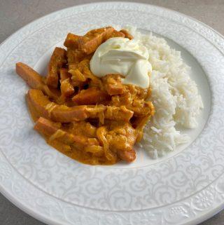 Korv stroganoff med ris