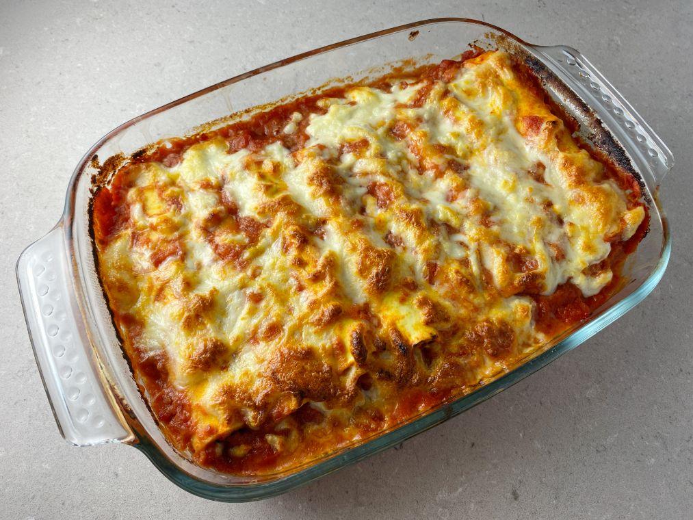 Cannelloni med zucchini och skinka