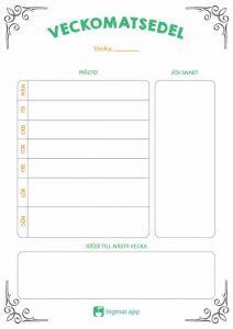 Veckomatsedel mall för utskrift