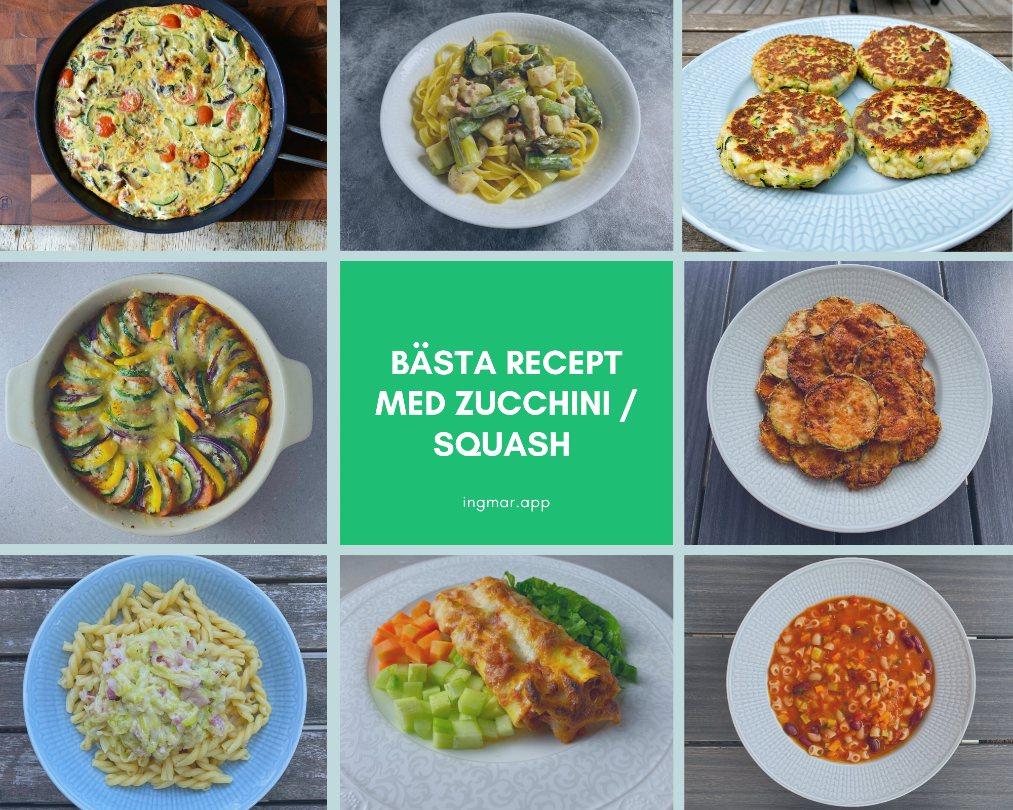 Bästa recept med zucchini eller squash
