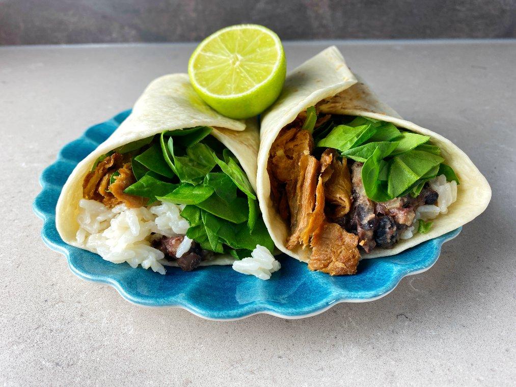 Burrito med pulled vego och kokosris